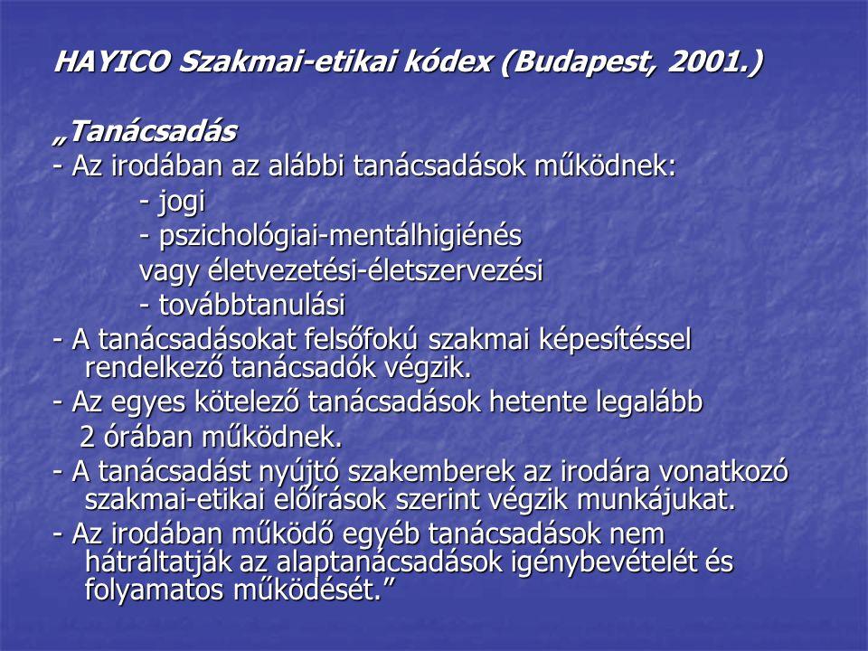 """HAYICO Szakmai-etikai kódex (Budapest, 2001.) """"Tanácsadás - Az irodában az alábbi tanácsadások működnek: - jogi - pszichológiai-mentálhigiénés vagy él"""