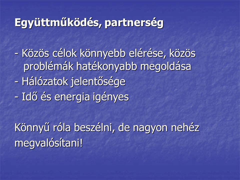 Együttműködés, partnerség - Közös célok könnyebb elérése, közös problémák hatékonyabb megoldása - Hálózatok jelentősége - Idő és energia igényes Könny