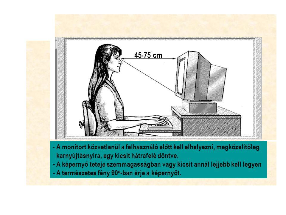 45-75 cm - A monitort közvetlenül a felhasználó előtt kell elhelyezni, megközelítőleg karnyújtásnyira, egy kicsit hátrafelé döntve.