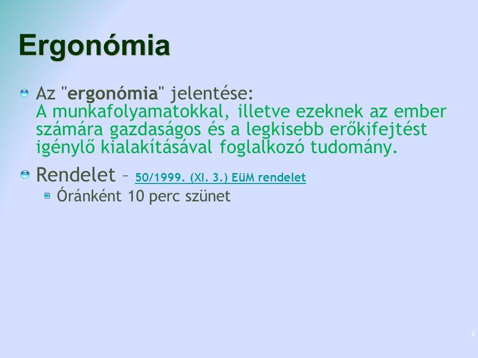 Ergonómia Az ergonómia jelentése: A munkafolyamatokkal, illetve ezeknek az ember számára gazdaságos és a legkisebb erőkifejtést igénylő kialakításával foglalkozó tudomány.