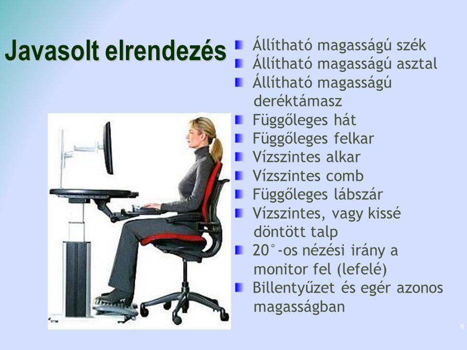 Javasolt elrendezés 6 20˙° 90˙° >90˙° 15-20˙° Állítható magasságú szék Állítható magasságú asztal Állítható magasságú deréktámasz Függőleges hát Függőleges felkar Vízszintes alkar Vízszintes comb Függőleges lábszár Vízszintes, vagy kissé döntött talp 20°-os nézési irány a monitor fel (lefelé) Billentyűzet és egér azonos magasságban