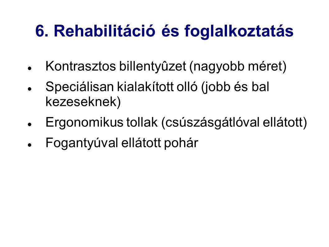 6. Rehabilitáció és foglalkoztatás Kontrasztos billentyûzet (nagyobb méret) Speciálisan kialakított olló (jobb és bal kezeseknek) Ergonomikus tollak (