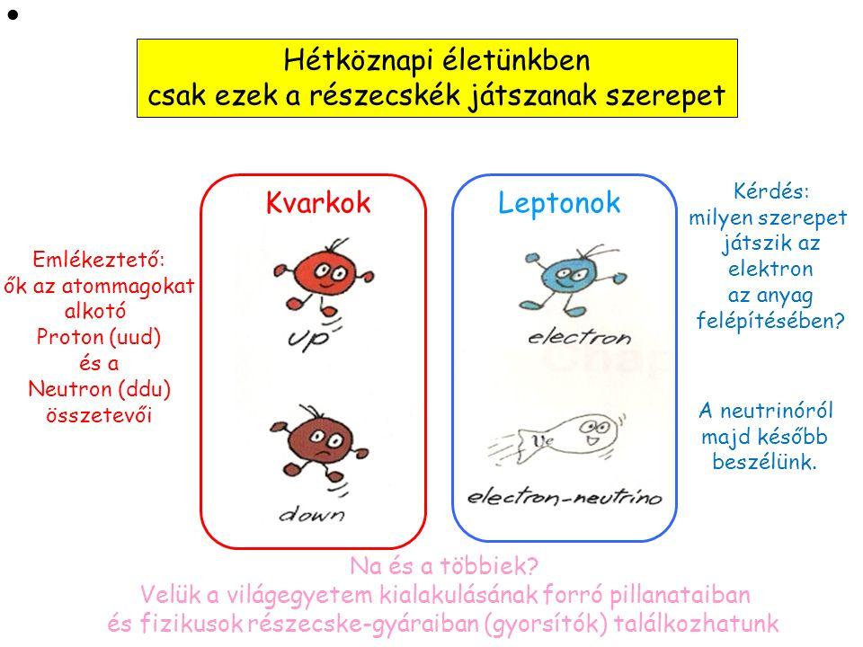 """Kvarkok: Leptonok: Közvetítő részecskék A mai nap főszereplői Anyagi részecskék Ők mind """"Fermionok"""" (s=1/2) Ők mind """"Bozonok"""" (s=1)"""