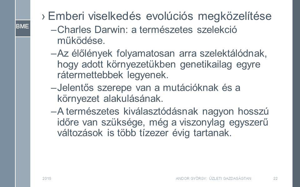 BME ›Emberi viselkedés evolúciós megközelítése –Charles Darwin: a természetes szelekció működése.