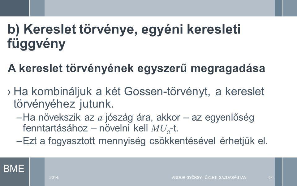 BME 2014.ANDOR GYÖRGY: ÜZLETI GAZDASÁGTAN64 ›Ha kombináljuk a két Gossen-törvényt, a kereslet törvényéhez jutunk.