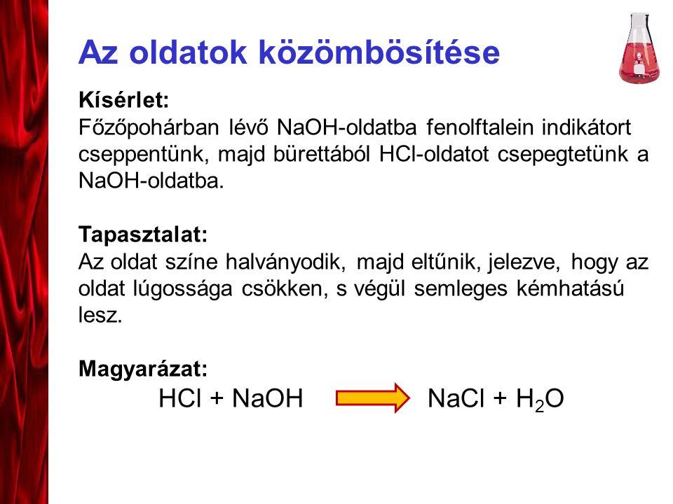 Az oldatok közömbösítése Kísérlet: Főzőpohárban lévő NaOH-oldatba fenolftalein indikátort cseppentünk, majd bürettából HCl-oldatot csepegtetünk a NaOH