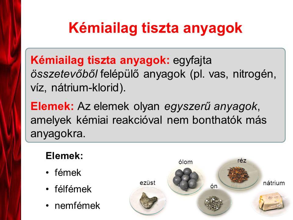 Kémiailag tiszta anyagok Kémiailag tiszta anyagok: egyfajta összetevőből felépülő anyagok (pl. vas, nitrogén, víz, nátrium-klorid). Elemek: Az elemek