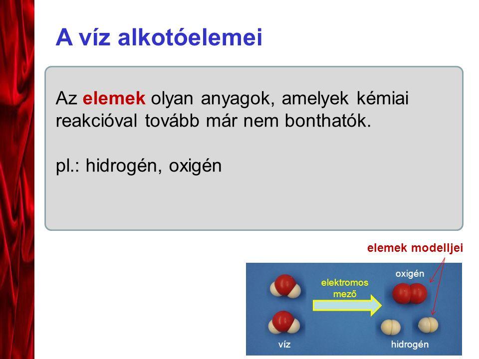 Az elemek olyan anyagok, amelyek kémiai reakcióval tovább már nem bonthatók. pl.: hidrogén, oxigén A víz alkotóelemei vízhidrogén oxigén elektromos me