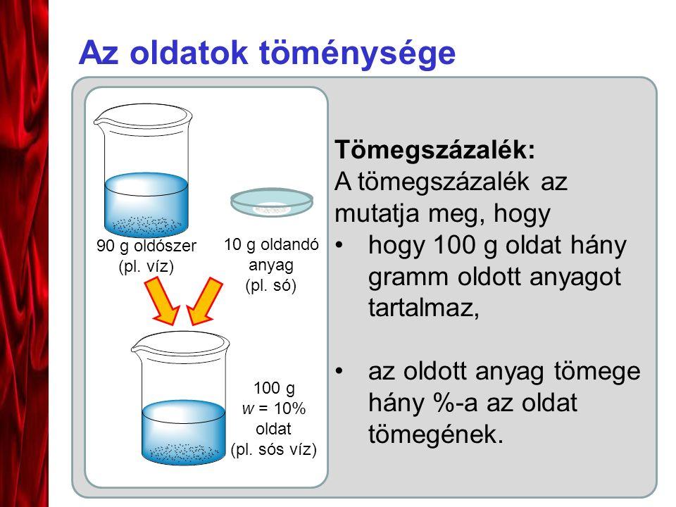 Az oldatok töménysége Tömegszázalék: A tömegszázalék az mutatja meg, hogy hogy 100 g oldat hány gramm oldott anyagot tartalmaz, az oldott anyag tömege hány %-a az oldat tömegének.