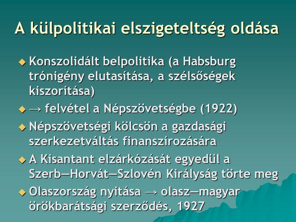A külpolitikai elszigeteltség oldása  Konszolidált belpolitika (a Habsburg trónigény elutasítása, a szélsőségek kiszorítása)  → felvétel a Népszövetségbe (1922)  Népszövetségi kölcsön a gazdasági szerkezetváltás finanszírozására  A Kisantant elzárkózását egyedül a Szerb―Horvát―Szlovén Királyság törte meg  Olaszország nyitása → olasz―magyar örökbarátsági szerződés, 1927