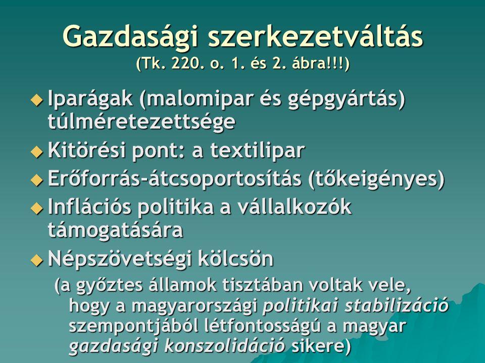Gazdasági szerkezetváltás (Tk. 220. o. 1. és 2.