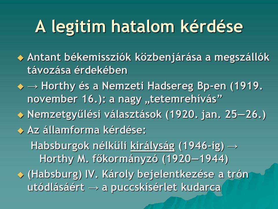 A legitim hatalom kérdése  Antant békemissziók közbenjárása a megszállók távozása érdekében  → Horthy és a Nemzeti Hadsereg Bp-en (1919. november 16
