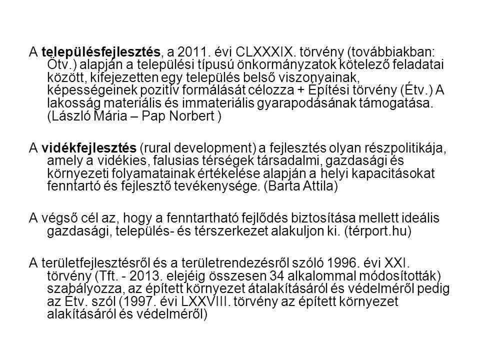 A településfejlesztés, a 2011.évi CLXXXIX.