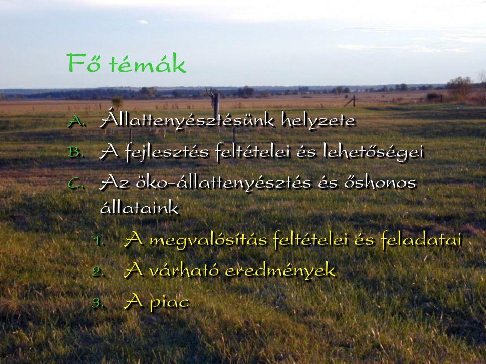 Fő témák  Állattenyésztésünk helyzete  A fejlesztés feltételei és lehetőségei  Az öko-állattenyésztés és őshonos állataink  A megvalósítás feltételei és feladatai  A várható eredmények  A piac  Állattenyésztésünk helyzete  A fejlesztés feltételei és lehetőségei  Az öko-állattenyésztés és őshonos állataink  A megvalósítás feltételei és feladatai  A várható eredmények  A piac