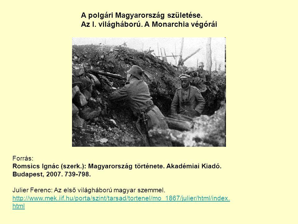 A polgári Magyarország születése. Az I. világháború.