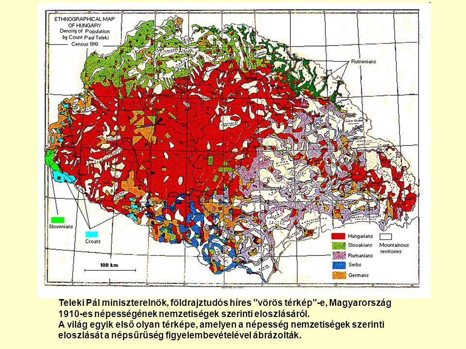 Teleki Pál miniszterelnök, földrajztudós híres vörös térkép -e, Magyarország 1910-es népességének nemzetiségek szerinti eloszlásáról.
