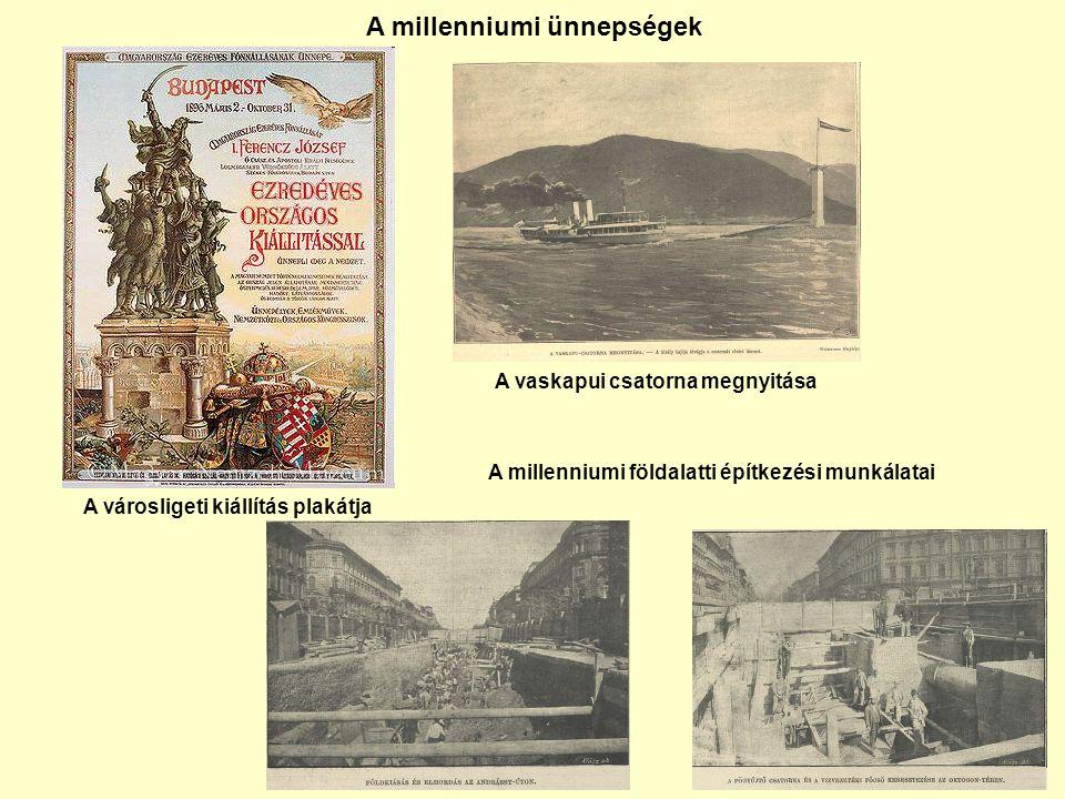 A városligeti kiállítás plakátja A vaskapui csatorna megnyitása A millenniumi földalatti építkezési munkálatai A millenniumi ünnepségek