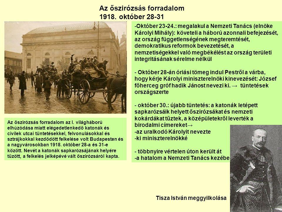 Tanácsköztársaság Kun Béla 1886-1938 Garbai Sándor és Kun Béla kikiáltják a Tanácsköztársaságot - Kommunista hatalomátvétel (március 21-22) – puccs - Forradalmi Kormányzótanács – munkás-katona, paraszt és földművestanácsok vették át az irányítást - szavazójog kiterjesztése - igazságszolgáltatás átszervezése - államosítás - oktatásügy reformja, a Magyar Tudományos Akadémia felfüggesztése - román és cseh támadás – katonai ellenállás - augusztus 1: lemondás, a hatalom átadása, menekülés (Bécs – politikai menedékjog)