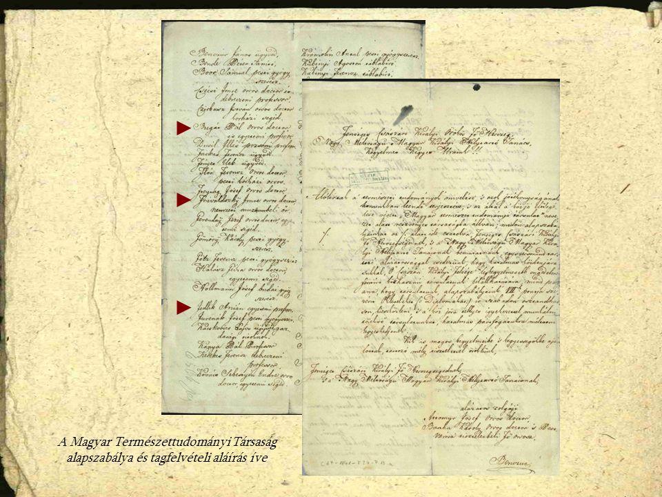 A Magyar Természettudományi Társaság alapszabálya és tagfelvételi aláírás íve