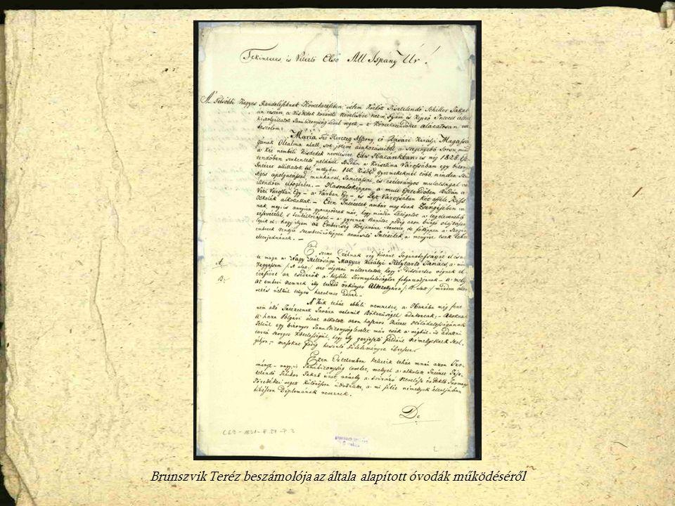 Brunszvik Teréz beszámolója az általa alapított óvodák működéséről