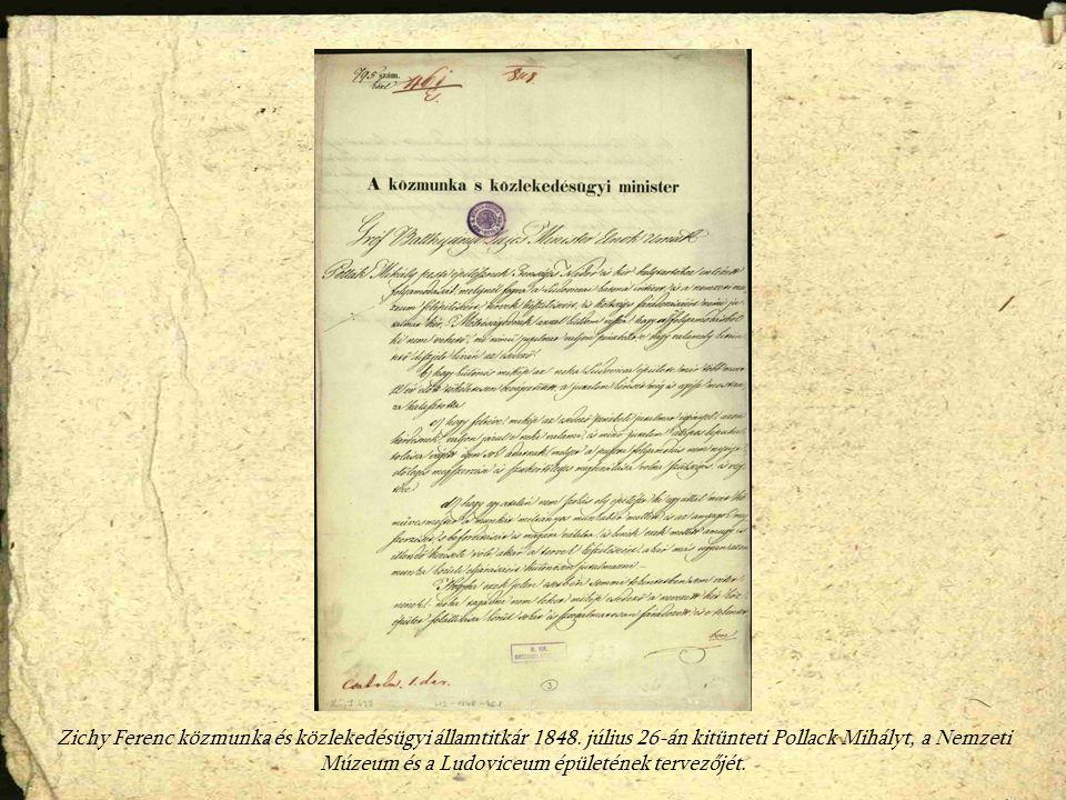 Zichy Ferenc közmunka és közlekedésügyi államtitkár 1848.