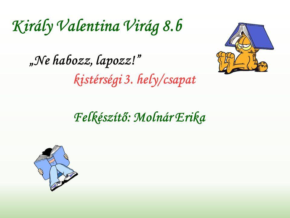 """Király Valentina Virág 8.b """"Ne habozz, lapozz! kistérségi 3. hely/csapat Felkészítő: Molnár Erika"""