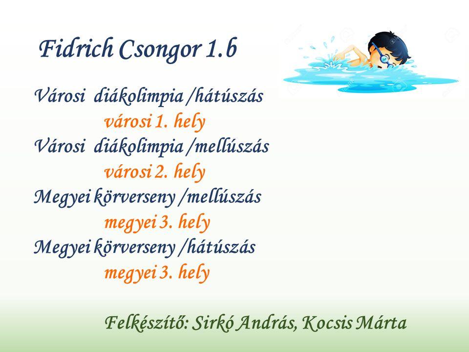 Fidrich Csongor 1.b Városi diákolimpia /hátúszás városi 1.