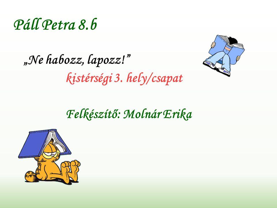 """Páll Petra 8.b """"Ne habozz, lapozz! kistérségi 3. hely/csapat Felkészítő: Molnár Erika"""