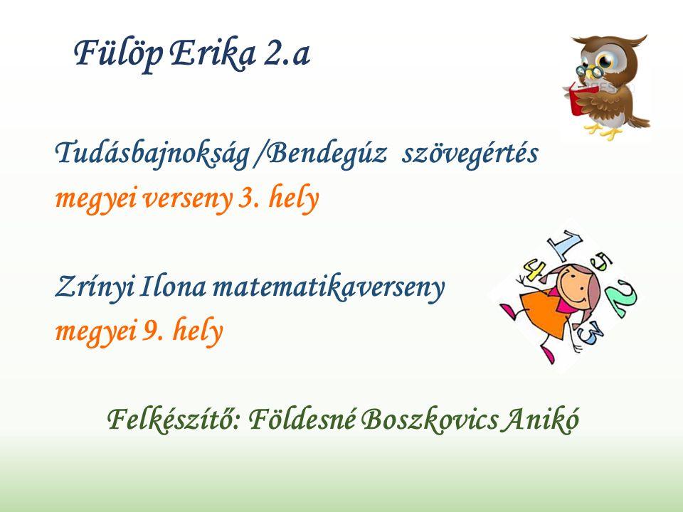 Fülöp Erika 2.a Tudásbajnokság /Bendegúz szövegértés megyei verseny 3.