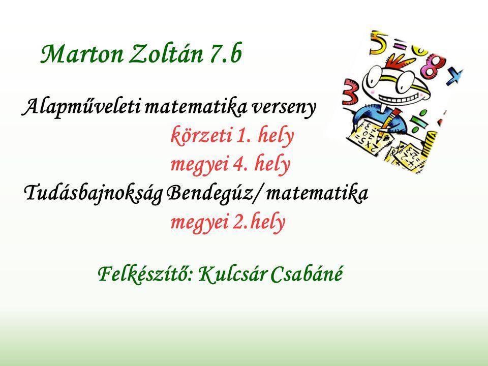 Marton Zoltán 7.b Alapműveleti matematika verseny körzeti 1.