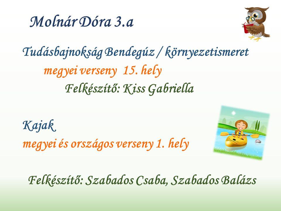 Molnár Dóra 3.a Tudásbajnokság Bendegúz / környezetismeret megyei verseny 15.