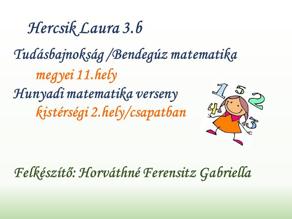 Hercsik Laura 3.b Tudásbajnokság /Bendegúz matematika megyei 11.hely Hunyadi matematika verseny kistérségi 2.hely/csapatban Felkészítő: Horváthné Ferensitz Gabriella
