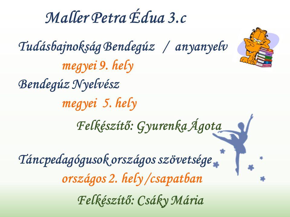 Maller Petra Édua 3.c Tudásbajnokság Bendegúz / anyanyelv megyei 9.