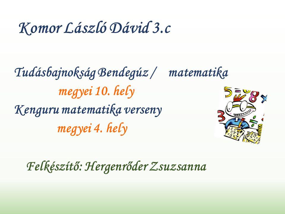 Komor László Dávid 3.c Tudásbajnokság Bendegúz / matematika megyei 10.
