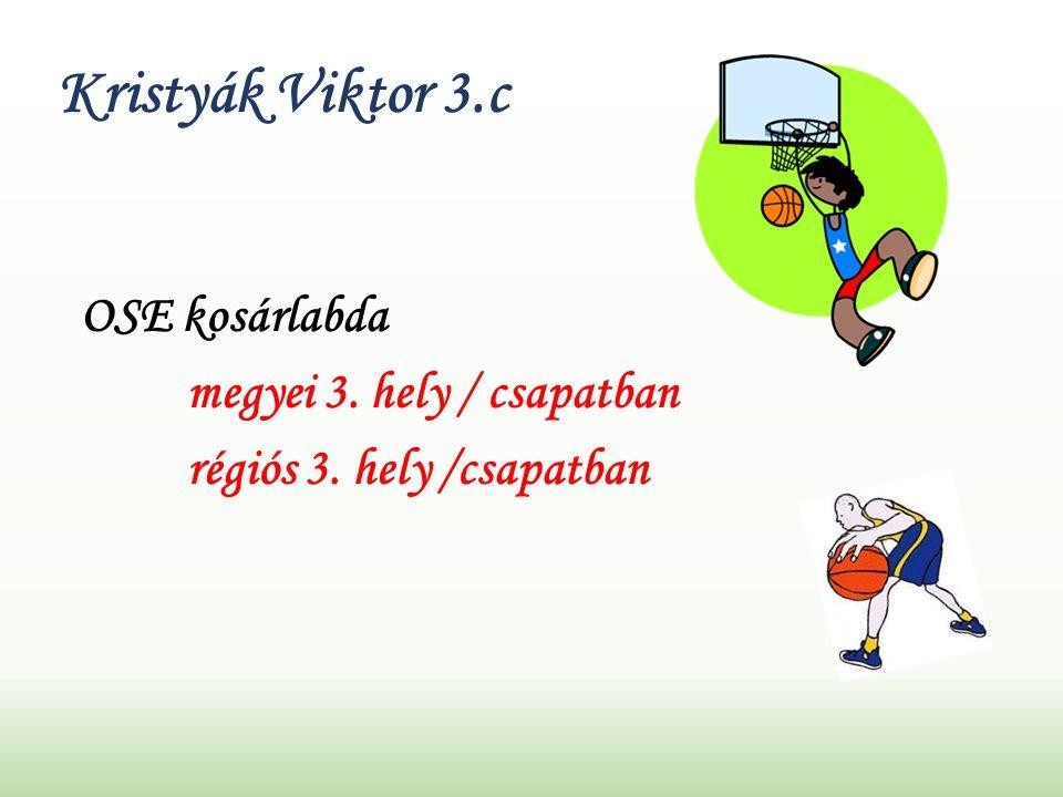 Kristyák Viktor 3.c OSE kosárlabda megyei 3. hely / csapatban régiós 3. hely /csapatban