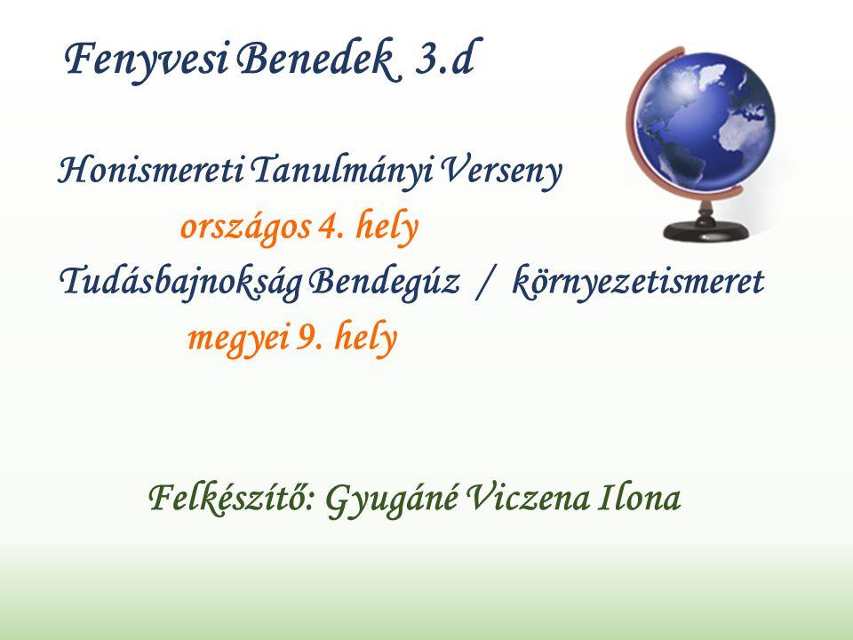 Fenyvesi Benedek 3.d Honismereti Tanulmányi Verseny országos 4.