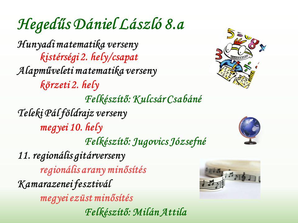 Hegedűs Dániel László 8.a Hunyadi matematika verseny kistérségi 2.