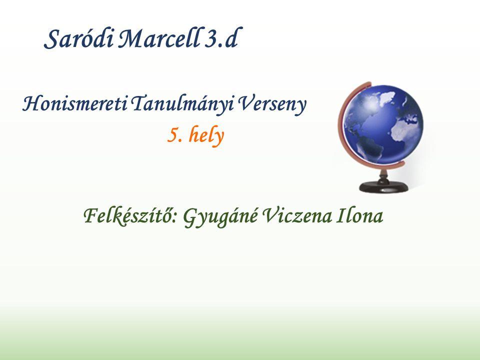 Saródi Marcell 3.d Honismereti Tanulmányi Verseny 5. hely Felkészítő: Gyugáné Viczena Ilona