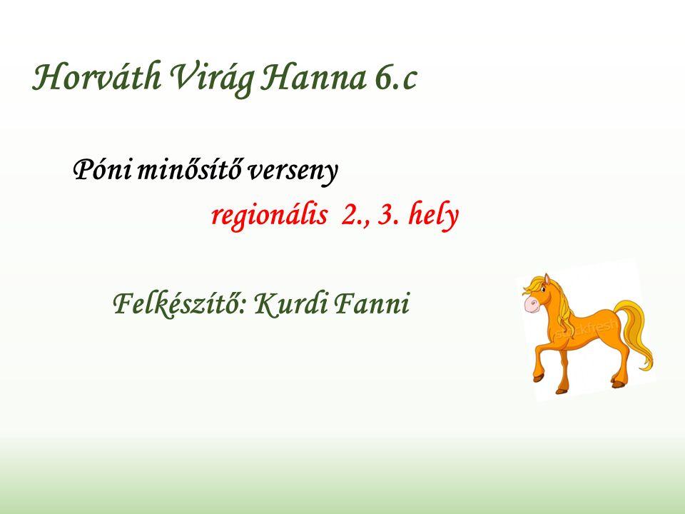Horváth Virág Hanna 6.c Póni minősítő verseny regionális 2., 3. hely Felkészítő: Kurdi Fanni