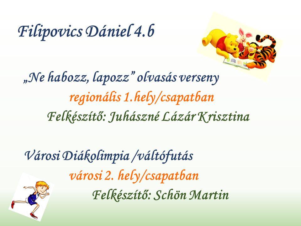 """Filipovics Dániel 4.b """"Ne habozz, lapozz olvasás verseny regionális 1.hely/csapatban Felkészítő: Juhászné Lázár Krisztina Városi Diákolimpia /váltófutás városi 2."""