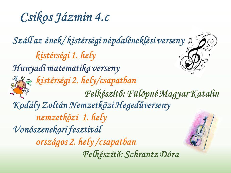 Csikos Jázmin 4.c Száll az ének/ kistérségi népdaléneklési verseny kistérségi 1.