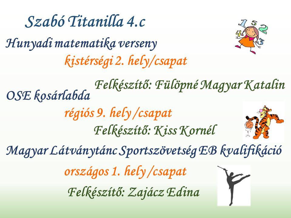Szabó Titanilla 4.c Hunyadi matematika verseny kistérségi 2.