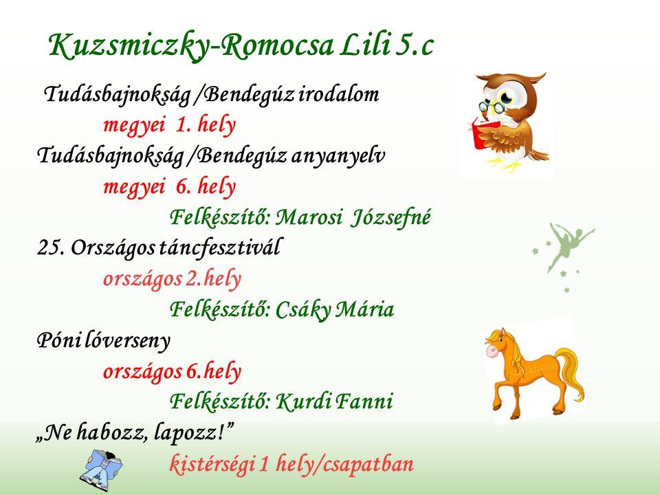 Kuzsmiczky-Romocsa Lili 5.c Tudásbajnokság /Bendegúz irodalom megyei 1.