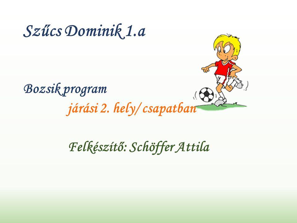 Szűcs Dominik 1.a Bozsik program járási 2. hely/ csapatban Felkészítő: Schöffer Attila