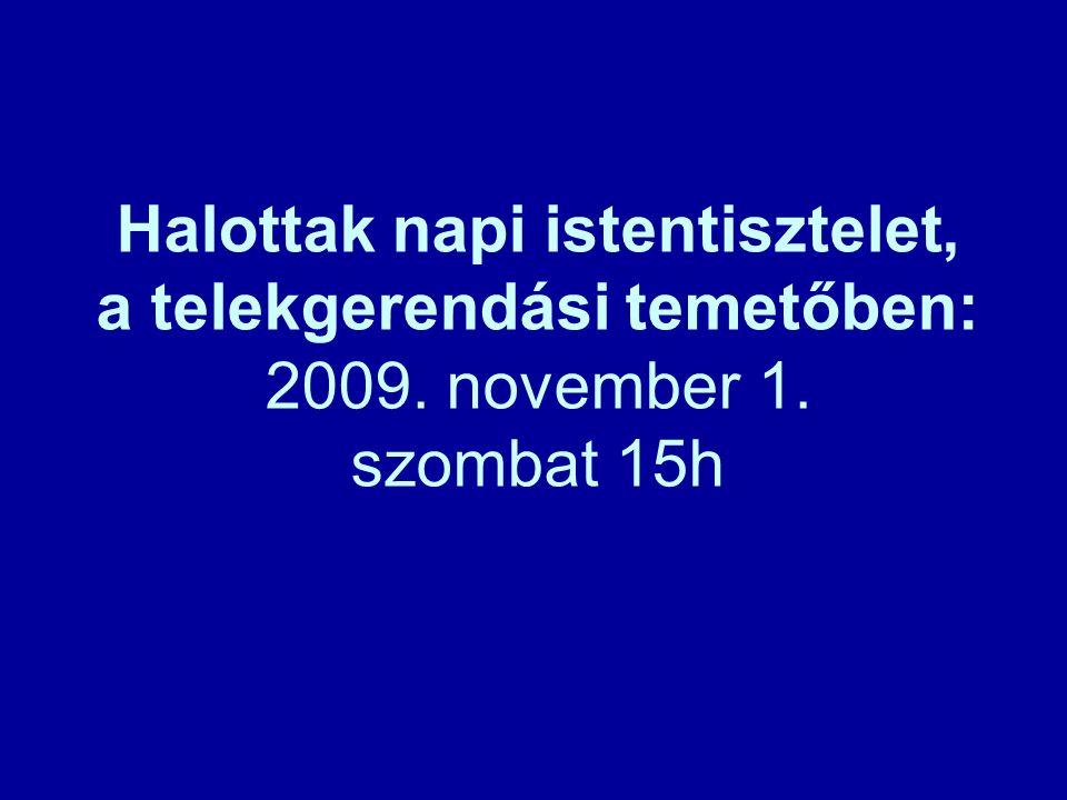 Halottak napi istentisztelet, a telekgerendási temetőben: 2009. november 1. szombat 15h
