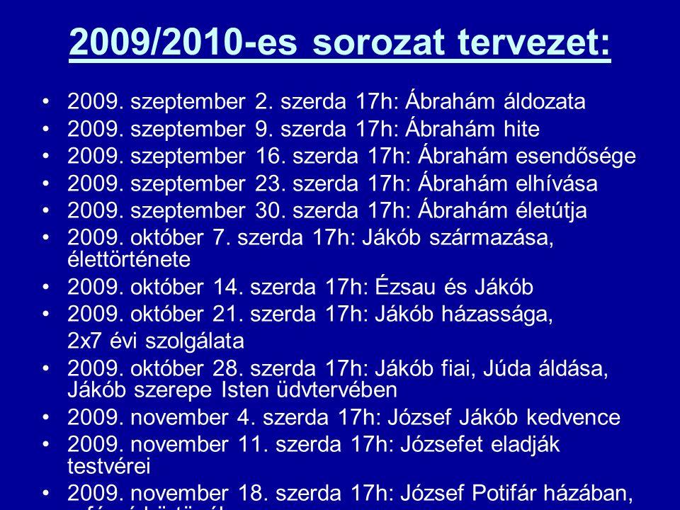 2009/2010-es sorozat tervezet: 2009. szeptember 2. szerda 17h: Ábrahám áldozata 2009. szeptember 9. szerda 17h: Ábrahám hite 2009. szeptember 16. szer