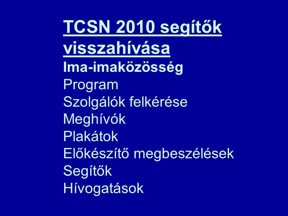 TCSN 2010 segítők visszahívása Ima-imaközösség Program Szolgálók felkérése Meghívók Plakátok Előkészítő megbeszélések Segítők Hívogatások