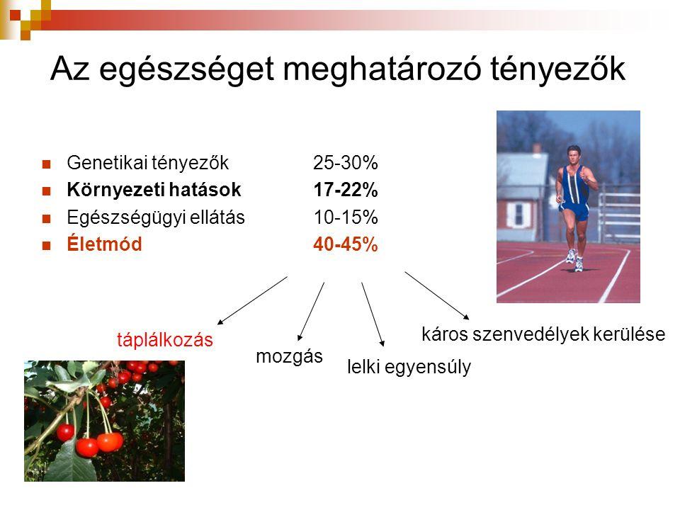 Táplálkozással összefüggő betegségek Elhízás (12% !!), cukorbetegség Szív-, érrendszeri betegségek, magasvérnyomás Daganatos megbetegedések Mozgásszervi problémák Fogszuvasodás (12 éveseknél átlag 4) Lelki problémák