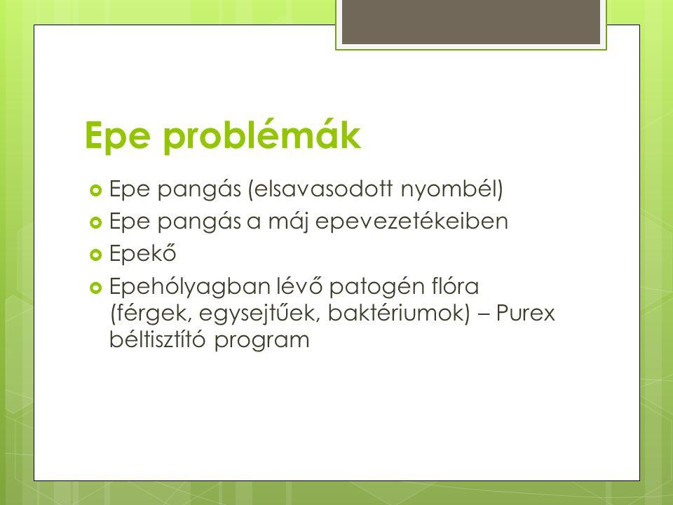 Epe problémák  Epe pangás (elsavasodott nyombél)  Epe pangás a máj epevezetékeiben  Epekő  Epehólyagban lévő patogén flóra (férgek, egysejtűek, baktériumok) – Purex béltisztító program