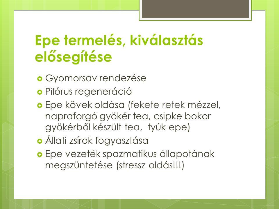 Epe termelés, kiválasztás elősegítése  Gyomorsav rendezése  Pilórus regeneráció  Epe kövek oldása (fekete retek mézzel, napraforgó gyökér tea, csipke bokor gyökérből készült tea, tyúk epe)  Állati zsírok fogyasztása  Epe vezeték spazmatikus állapotának megszüntetése (stressz oldás!!!)